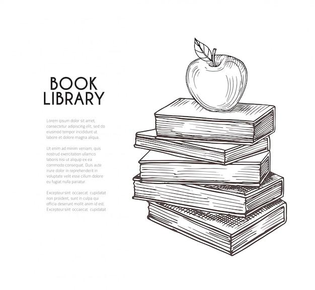 ライブラリの背景。手描きのレトロな本とアップル。学校教育、読書、知識ベクトルの概念