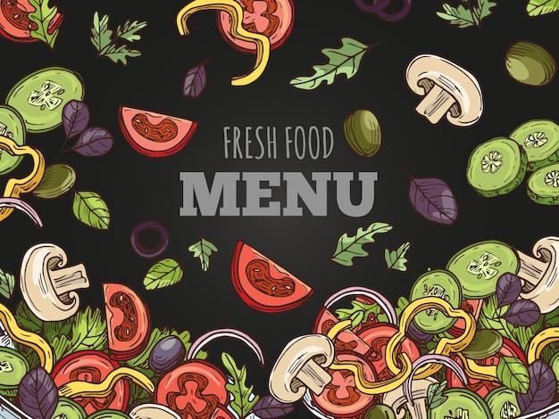 生鮮食品メニューカバーベクトルテンプレート。黒板の背景に手スケッチビーガンサラダ