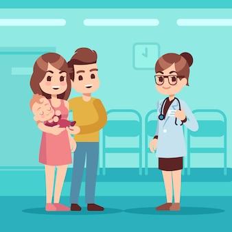 Счастливая семья с ребенком и педиатром врач. педиатрическая помощь вектор мультфильм концепция