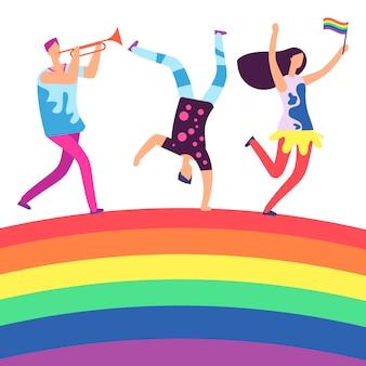 Лгбт-парад. люди держат радужный флаг. гей-любовь, расовая дискриминация на радуге