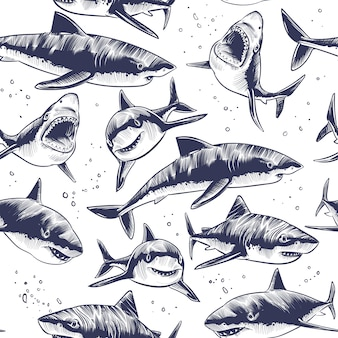 サメのシームレスなパターン。手描きの水中海魚航海日本の背景