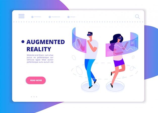 Баннер дополненной реальности. люди с гарнитурой и виртуальными очками играют в виртуальной реальности. футуристическая технология векторной концепции
