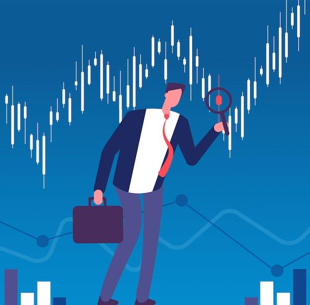 Концепция инвестора. бизнесмен с увеличительным стеклом ищет возможности для инвестиций. успешный инвестор, финансы векторный фон