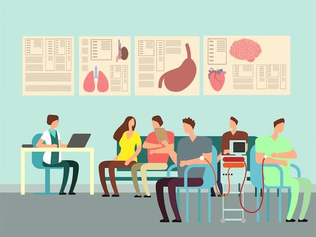 Концепция переливания крови вектор. пожертвование иллюстрации с людьми мультфильма в кабинете врача