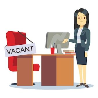 雇用、欠員および雇用の仕事のベクトルの概念。漫画のキャラクターの人事マネージャーと仕事場