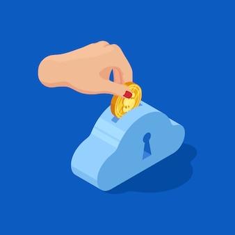 Рука падает доллар в банк. сохранить деньги вектор концепции