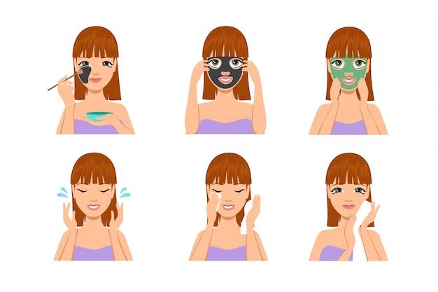 顔のマスクセットを持つ美しい女性