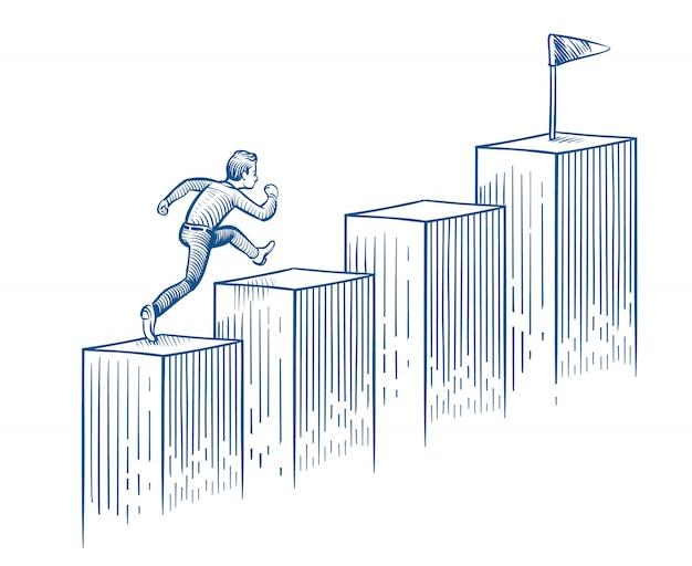 Бизнесмен бежит вверх по лестнице эскиз