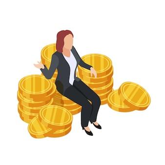 黄金のコインの上に座って実業家