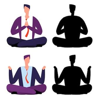 リラックス、瞑想漫画ビジネスマンセット