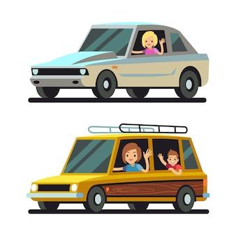 車を運転して若い幸せな女性