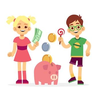 貯金箱でお金を節約する子供たち