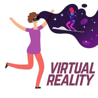 Девушка на лыжах в очках виртуальной реальности