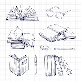 Эскиз книги и набор канцелярских товаров
