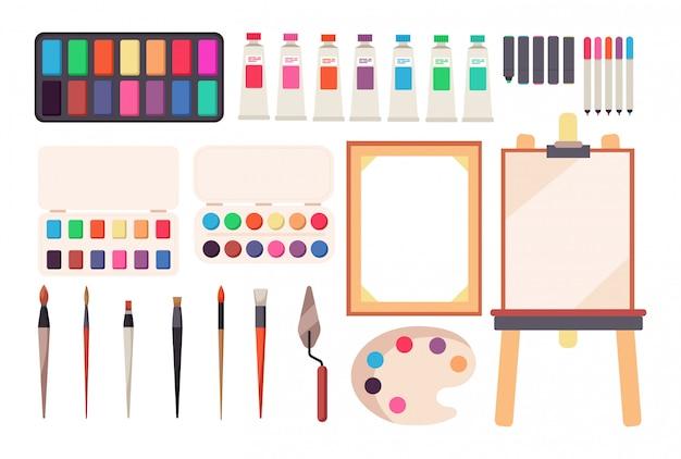 ペイントツール。漫画の絵筆とキャンバス、イーゼル、塗料。水彩パレット。芸術的なセット