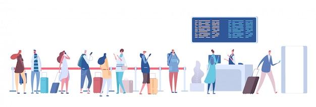 空港のキューの人々。乗客の荷物は一列に並んでいます。ターミナルで登録してください。空港到着出発コンセプト