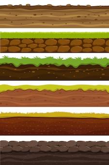 Мультфильм бесшовные основания. широкая ландшафтная земля. земля и почва для коллекции игровых интерфейсов