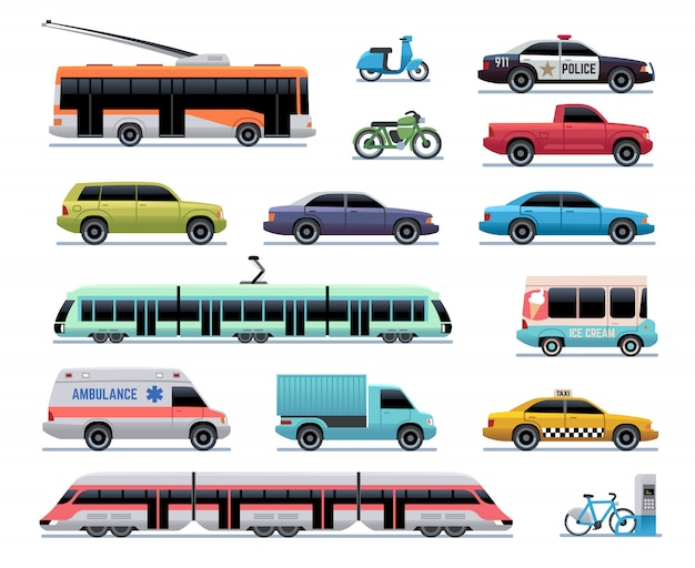 都市交通。漫画の車、バス、トラック、路面電車。電車、トロリーバス、スクーター。都市車両輸送コレクション