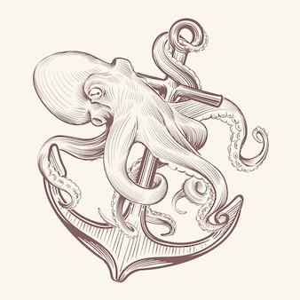 Осьминог с якорем. эскиз морской кракен, держащий корабль якорь. осьминог татуировки винтажный дизайн