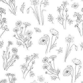 Дикий цветочный узор. цветочные бесшовные обои с полевыми цветами. винтажная ткань.