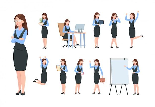 Деловые персонажи. управление профессиональная женщина, женщина в разных позах деловой активности. плоский мультфильм менеджер