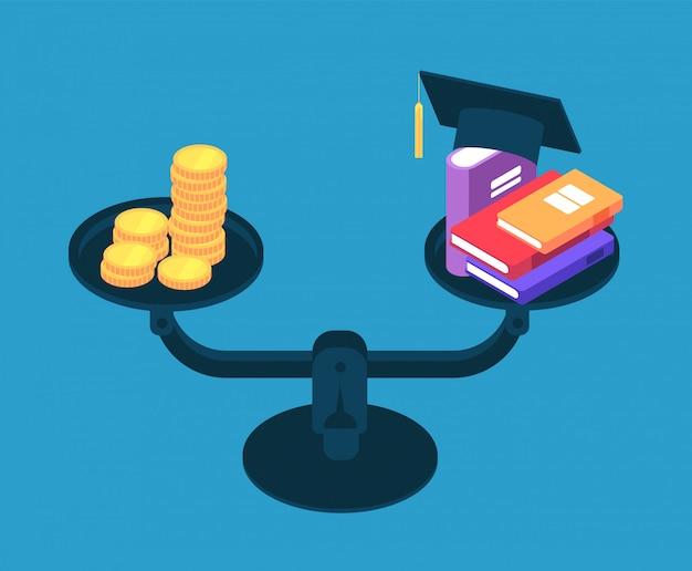 Инвестиции в образование. деньги на учебу в колледже, книги и золотые монеты на весах. студенческий кредит векторная иллюстрация концепции