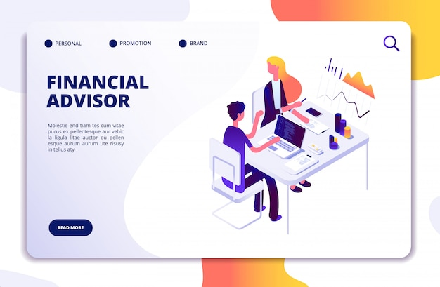 金融アドバイザー等尺性概念。専門チームによるビジネスデータ分析。お金投資管理ベクトルランディングページ