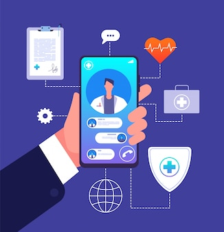オンライン医師のコンセプト。薬の携帯電話アプリ。電話画面での医師コンサルタントのアドバイス。遠隔医療のベクトル図