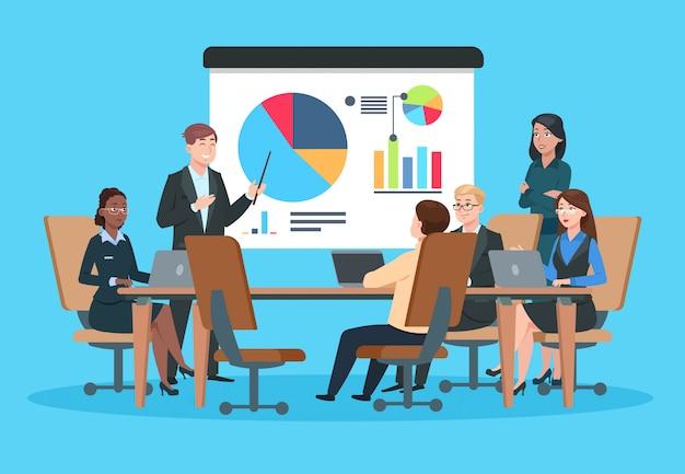 ビジネスミーティング。プレゼンテーション会議イラストの平らな人々。プロジェクト戦略インフォグラフィックで実業家。チームセミナーベクトル概念