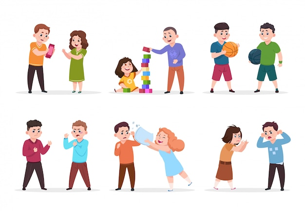 子供の行動。小さな子供たちに立ち向かい、いじめっている悪い男の子と女の子。良いフレンドリーな子供たちが一緒に遊ぶベクトル文字