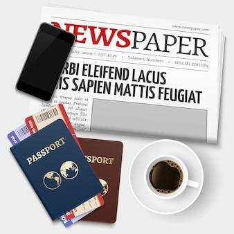 旅行前にトップビュービジネスコーヒーブレーク。パスポート、新聞、電話、チケットのベクトル