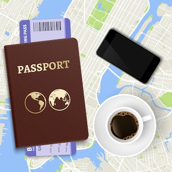 旅行ベクトルの概念図。トップビューのコーヒー、地図、パスポートとチケット