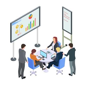 Изометрические деловая встреча, бизнесмены спорят векторная иллюстрация