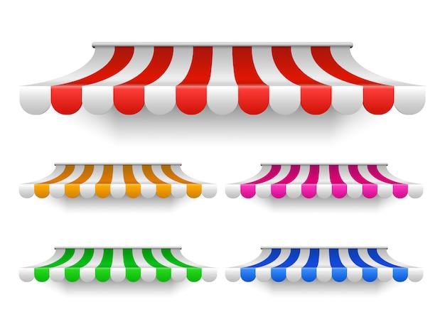 Магазин тентовых палаток для витрин. открытый рынок навес, винтажная крыша магазина