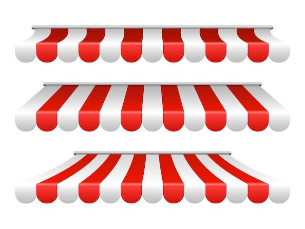 Полосатый белый и красный навес для кафе, магазина, рынка