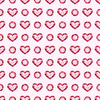 ピンクの宝石の宝石ベクトルのシームレスパターン