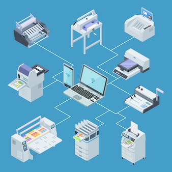 Инфографическое оборудование типографии. принтер плоттер, офсетная резка изометрические вектор концепции