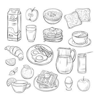 Завтрак каракули. бутерброд хлеб тост яйцо сливочное масло, утренний кофе и сыр эскиз здоровой пищи старинный векторный набор
