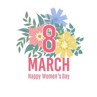 春の花で幸せな女性の日の背景