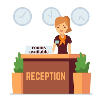 女性とホテルのレセプション