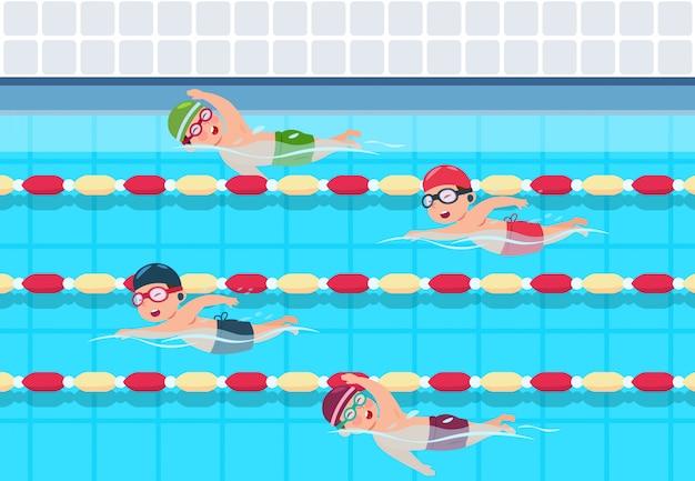 プールで水泳大会の子供たち