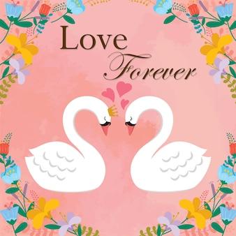 愛の白鳥と花のフレームピンクの背景イラスト