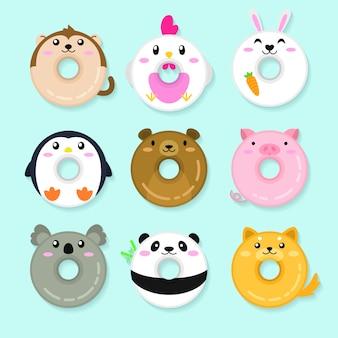 Набор пончиков для животных. симпатичные иллюстрации животных
