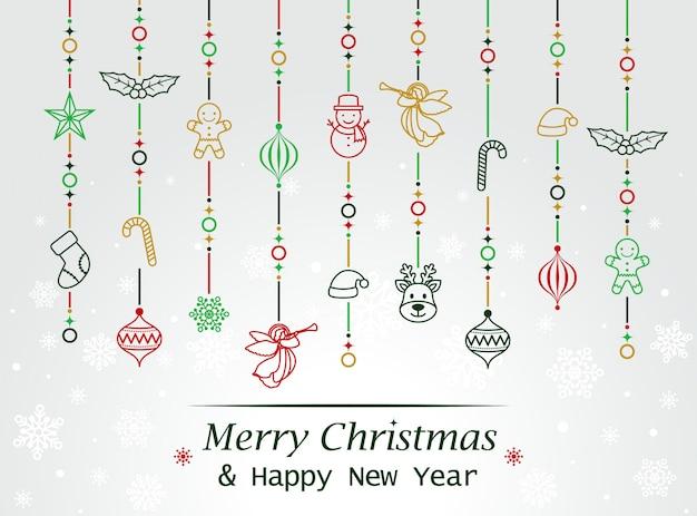 メリークリスマスレタリングと要素カードのテンプレート
