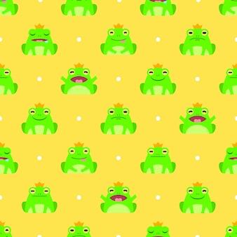 シームレスなかわいいカエルのベクトルパターンの背景