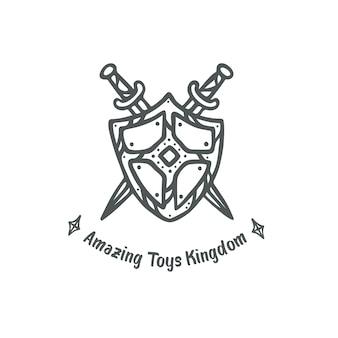 盾と剣のロゴクリップアート