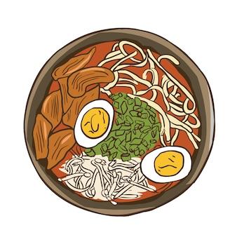 Традиционный японский рамен суп с лапшой и отварным яйцом изолированный плоский рисунок