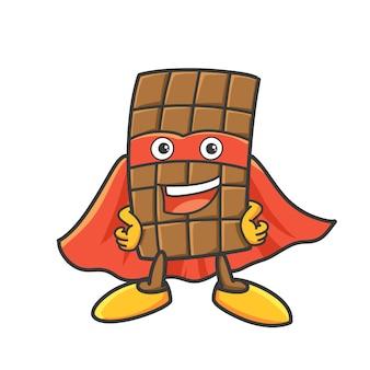 チョコレートのスーパーヒーローの漫画イラスト。