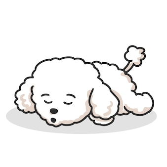 眠っているかわいい子犬プードル漫画。