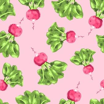 赤い大根のイラスト。大根のシームレスなパターン。手描きの健康食品。